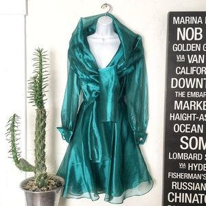 Vintage 80's Emerald Green Night Way Dress w/Shawl